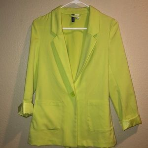 EUC H&M Divided neon green blazer size 4